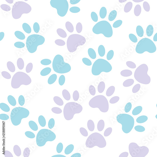 1f19c8d4a8ac Paw print seamless. Vector illustration animal paw track pattern. backdrop  with silhouettes of cat or dog footprint.