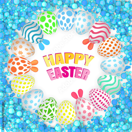 Fototapeta Happy Easter Background with Realistic Decorated Eggs obraz na płótnie