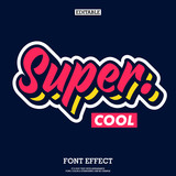 Fototapeta Młodzieżowe - super cool font with simple layer style, modern brush script font for logotype and headline design, funky text effect with cool design style