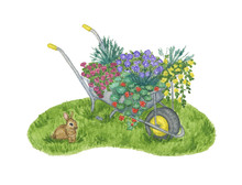 A Garden Wheelbarrow Full Of Flowers Stands On A Green Lawn With A Small Rabbit