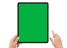 Isolated Human Left Hand Holding Black Tablet With Green Screen