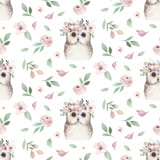 Watercolor Seamless hand illustrated floral pattern with floral leaf, pink flowers and baby owl. Watercolor boho spring wallpaper botanical background textile