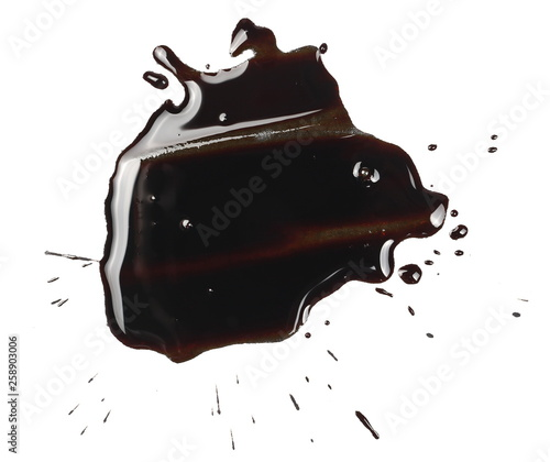 Fotografie, Tablou  Old spilled engine oil puddle, splash isolated on white background, texture