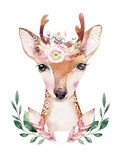 Watercolor cartoon isolated cute baby deer animal with flowers. Forest nursery woodland illustration. Bohemian boho drawing for nursery poster, pattern - 258905654
