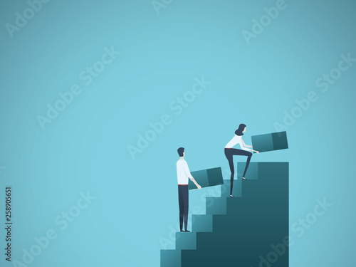 Fotografía Business growth vector concept with businessman and businesswoman building steps as team