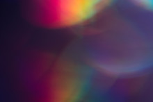 Purple Bokeh Dark Spots. Faded Colorful Backdrop. Dark Lens Flare Background.