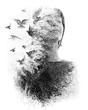 canvas print picture - Paintography. Double Exposure portrait of an elegant woman with closed eyes combined with hand made pencil drawing of a flock of birds flying freely resembling