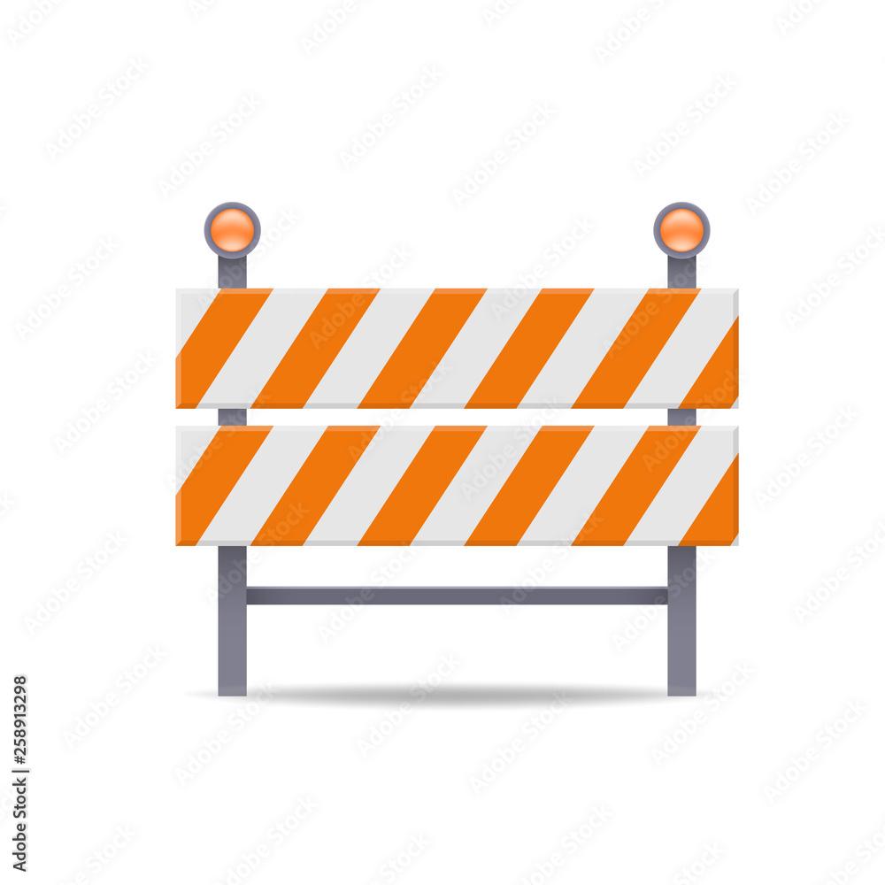 Fototapeta road barrier flat vector icon