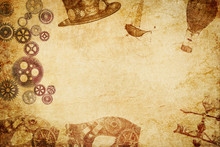 Steampunk Meshup Paper Background