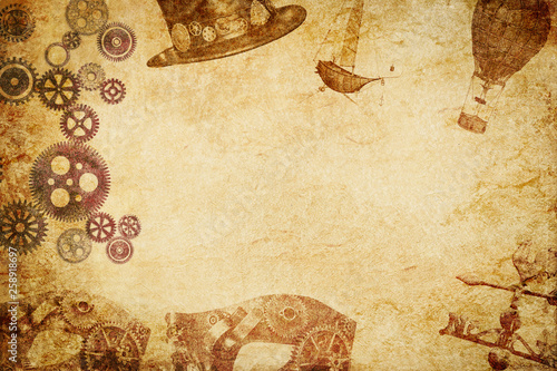 steampunk meshup paper background Canvas Print