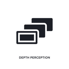 Black Depth Perception Isolated Vector Icon. Simple Element Illustration From Augmented Reality Concept Vector Icons. Depth Perception Editable Black Logo Symbol Design On White Background. Can Be