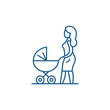 Mom with a baby carriage line concept icon. Mom with a baby carriage flat vector website sign, outline symbol, illustration.
