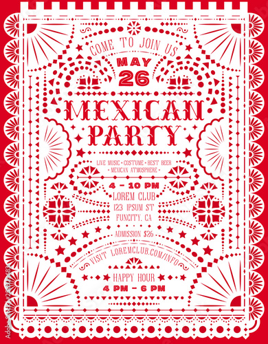 Mexican party announce poster with paper cut design Canvas