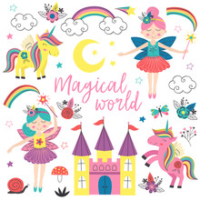 Set Of Isolated Magical Characters And Elements - Vector Illustration, Eps