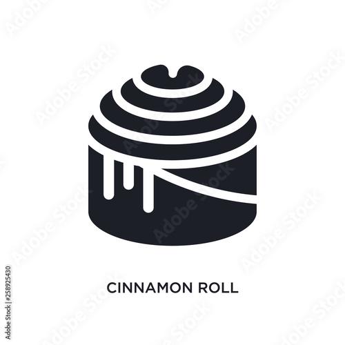 Black Cinnamon Roll Isolated Vector Icon Simple Element