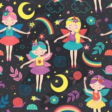 Seamless Pattern With Magic Night Fairies - Vector Illustration, Eps