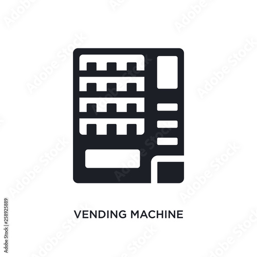Obraz black vending machine isolated vector icon. simple element illustration from hotel and restaurant concept vector icons. vending machine editable logo symbol design on white background. can be use - fototapety do salonu
