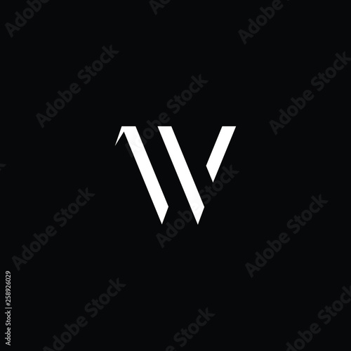 Outstanding professional elegant trendy awesome artistic black and white color W WV VW initial based Alphabet icon logo Canvas Print