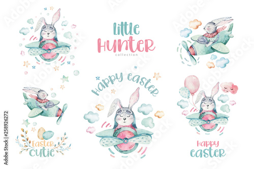 Hand Drawing Fly Cute Easter Pilot Bunny Watercolor Cartoon Bunnies With Airplane In The Sky Turquoise Watercolour Animal Rabbit Flying Art Flight Illustration Buy This Stock Illustration And Explore Similar Illustrations