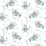Hand drawing fly cute easter pilot bunny watercolor cartoon bunnies with airplane in the sky textile pattern. Turquoise watercolour textile illustration decoration - 258927490