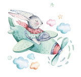 Fototapeta Fototapety na ścianę do pokoju dziecięcego - Hand drawing fly cute easter pilot bunny watercolor cartoon bunnies with airplane in the sky. Turquoise watercolour animal rabbit flying art flight illustration