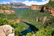 canvas print picture - Blyde River Canyon and The Three Rondavels (Three Sisters) in Mpumalanga, South Africa. The Blyde River Canyon is the third largest canyon worldwide