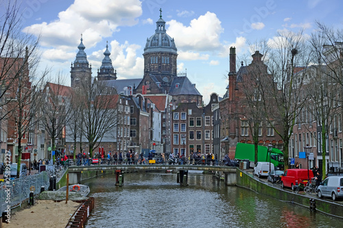 City scenic from Amsterdam in the Netherlands with the Nicolaas church Canvas Print