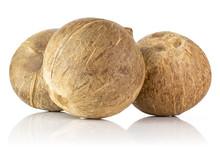 Group Of Three Whole Fresh Bio Coconut Isolated On White Background