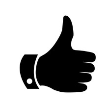 Thumbs Up Or Like Icon.  Thumbs Up, Like Button. Like Button, Thambs Up Black Icon.