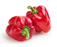 Fresh Red Bell Peppers Isolated On White Background