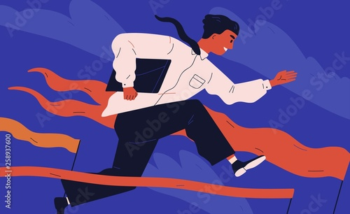 Photo Smiling office worker or clerk jumping over barrier