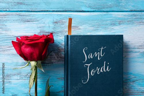 Fotografie, Obraz rose, catalan flag, book and text Sant Jordi.