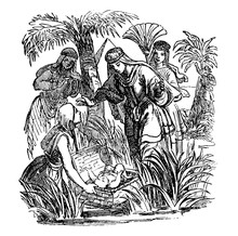 Vintage Antique Illustration And Line Drawing Or Engraving Of Biblical Story About How Moses As Baby Was Found By Egyptian Princess.