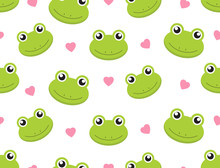 Seamless Pattern Cute Frogs With Hearts On White Background - Vector Illustration