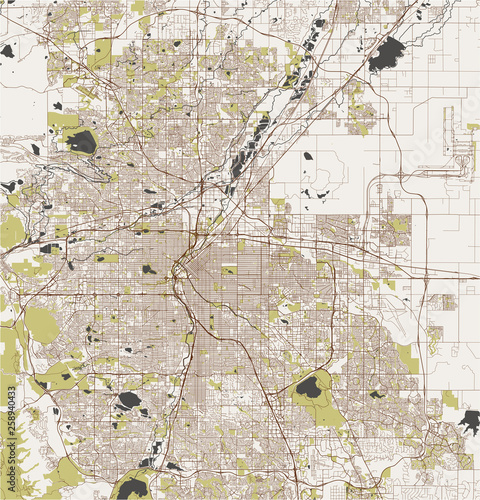 map of the city of Denver, Colorado, USA Wallpaper Mural