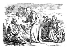 Vintage Antique Illustration And Line Drawing Or Engraving Of Biblical Story Of Job.From Biblische Geschichte Des Alten Und Neuen Testaments, Germany 1859.Old Sick Man Is Talking With Three Friends