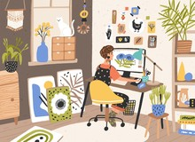 Female Graphic Designer, Illustrator Or Freelance Worker Sitting At Desk And Work On Computer At Home. Creativity Process, Creative Workplace. Modern Vector Illustration In Flat Cartoon Style.