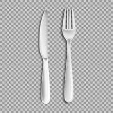 Knife Fork Isolated On White B...