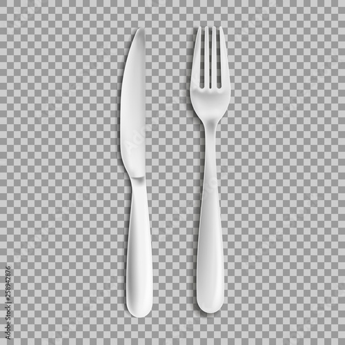 Foto knife fork isolated on white background. Vector illustration.
