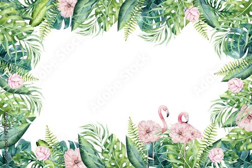 recznie-rysowane-akwarela-tropikalne-invirtation-backgraund-czerwonak-ilustracje-egzotycznych-ptakow-rozy-drzewo-dzungli-modna-sztuka