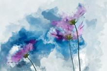 Digital Watercolor Painting Of Pink Cosmos Flowers