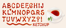 Ketchup Font. Set Of Vector Le...