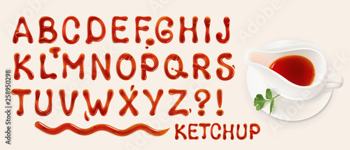 Photo ketchup font. set of vector letters of tomato sauce