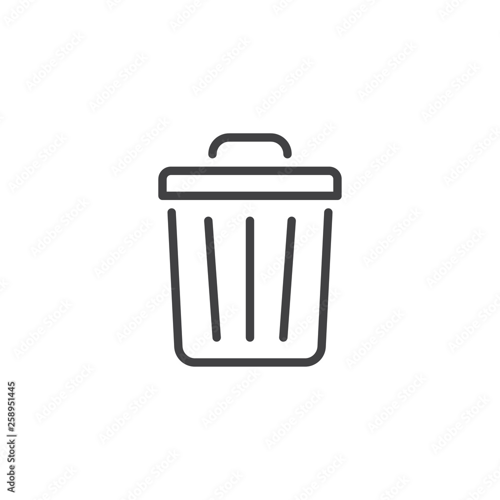 Trash can line icon. linear style sign for mobile concept and web design. Garbage bin outline vector icon. Delete symbol, logo illustration. Pixel perfect vector graphics