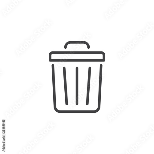 Fototapety, obrazy: Trash can line icon. linear style sign for mobile concept and web design. Garbage bin outline vector icon. Delete symbol, logo illustration. Pixel perfect vector graphics