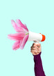 Leinwanddruck Bild - A tender reminder. Social talks may grow into useful things. Males hand holding bullhorn with blossoming light pink flower. Negative space to insert your text. Modern design. Contemporary art collage.