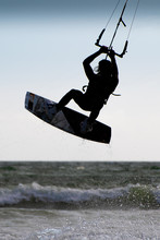 Silhouette Of A Kite Surfer In...