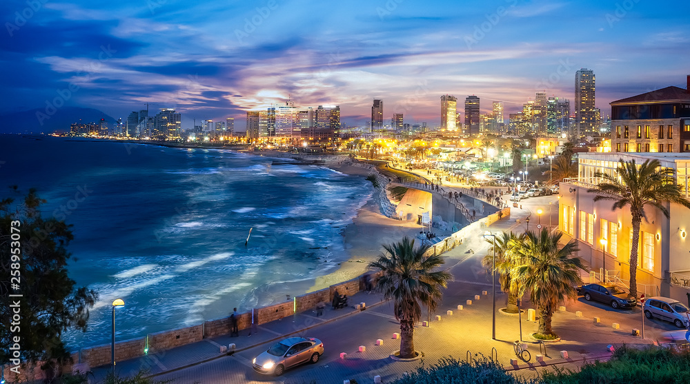 Fototapety, obrazy: Panoramic view of Tel Aviv at blue time, Israel