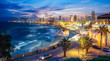 Panoramic view of Tel Aviv at blue time, Israel