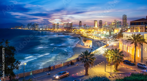 Obraz Panoramic view of Tel Aviv at blue time, Israel - fototapety do salonu
